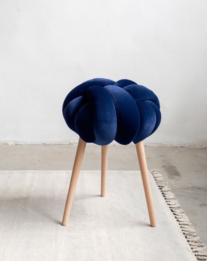 Midnight Blue Velvet Knot Stool