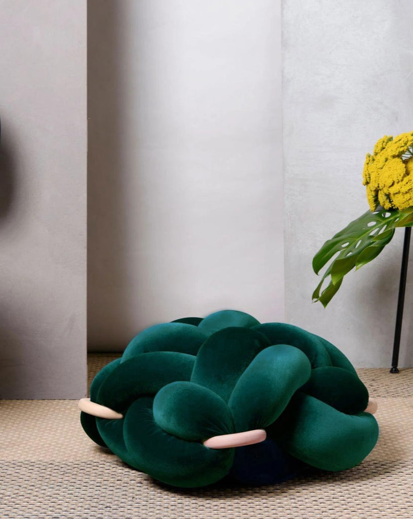 (M) Velvet Emerald Green knot floor cushion