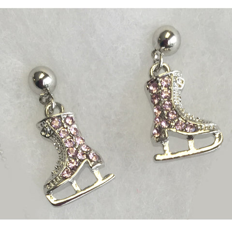 Petite Pink Rhinestone Ice Skating Earrings