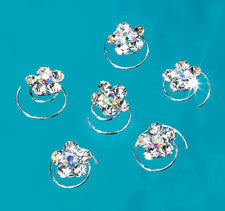 Rhinestone Hair Coil Flowers