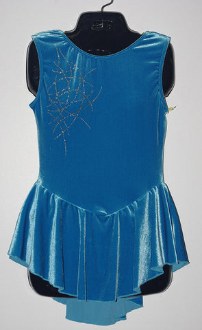 Motionwear 8115, Sleeveless Velour Dress with Rhinestone Appliqué