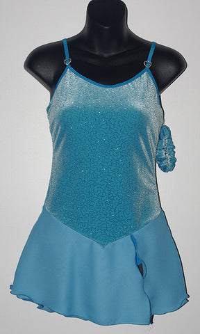 Six0 1050, Turquoise Camisole Dress with Georgette Skirt