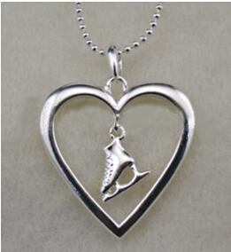 Ice Skate Inside Heart Pendant Necklace