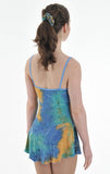 Six0 1057 Drape Neck Blue Tye Dye Camisole Dress