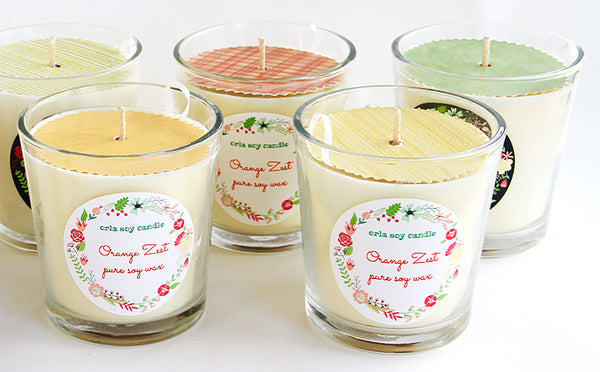 12 oz. clear tumbler natural soy wax scented candle