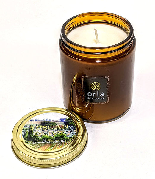 9 oz. amber salsa jar natural soy wax candle Orla Soy Candle Rhode Island