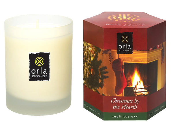 Christmas By The Hearth, Frasier Fir & Cranberry Natural Soy Candle 7.5 oz. Boxed
