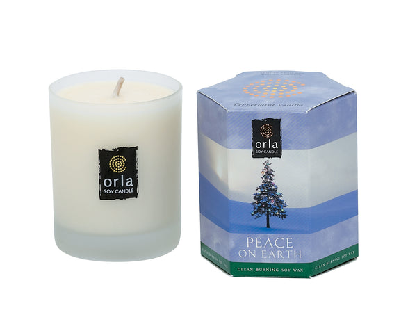 Peace on Earth, Peppermint Vanilla Natural Soy Candle 7.5 oz. Boxed