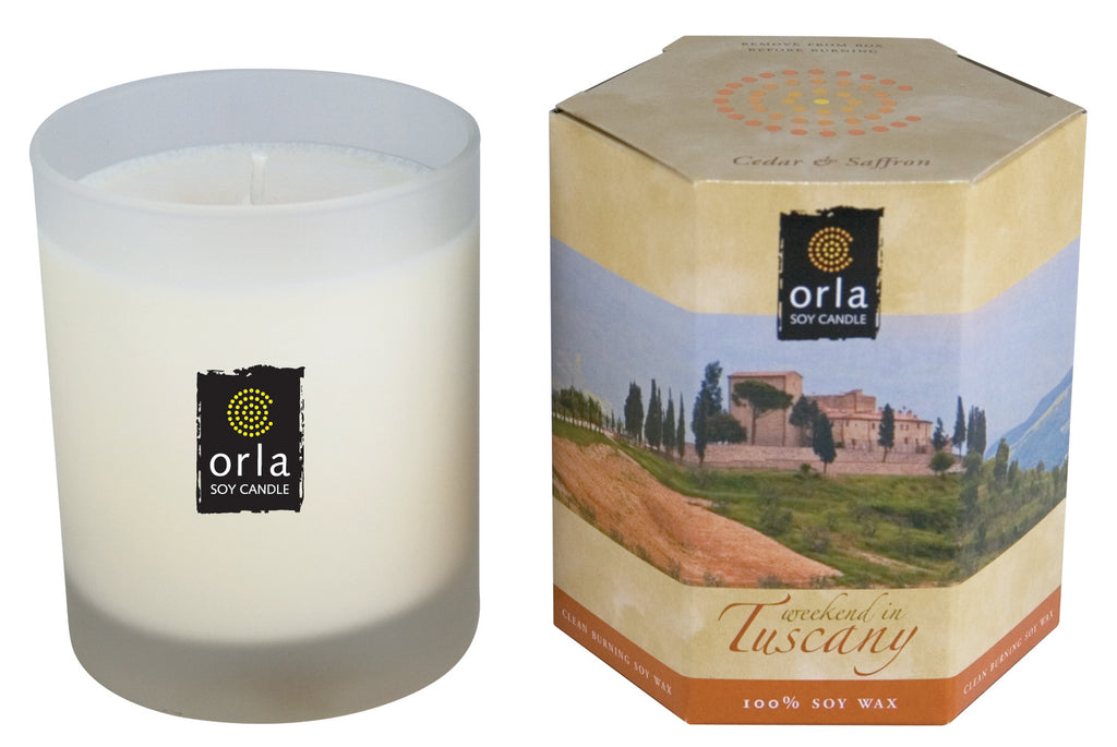 Weekend in Tuscany, Cedar & Sandalwood Natural Soy Wax Candle 7.5 oz. Boxed