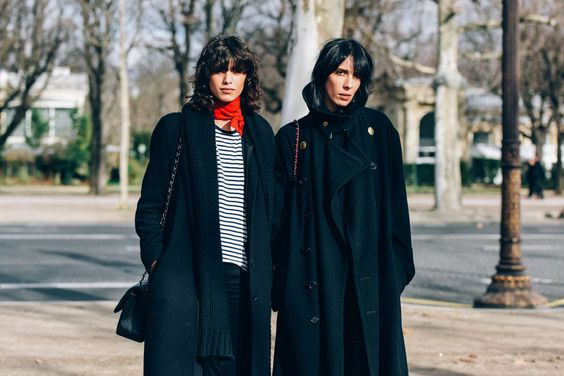 Street style Mica Arganaraz and Jamie Bochert by TommyTon red scarf | Les Belles Heures