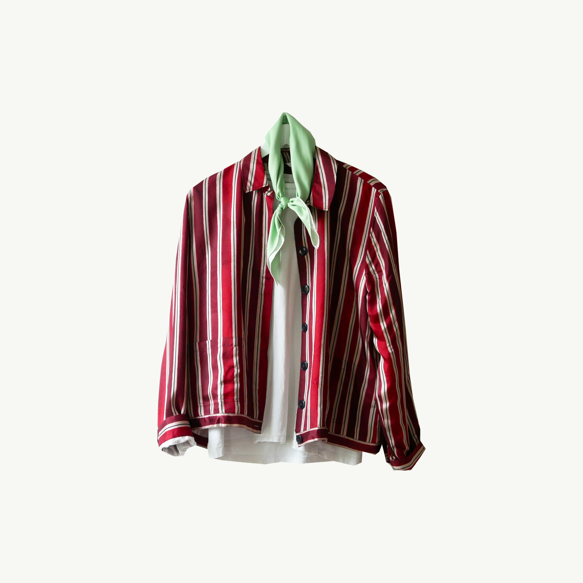 Capri, 20h08 handcrafted scarf worn on a red printed silk jacket over a white tee in A Day In The Life...Part III by Les Belles Heures