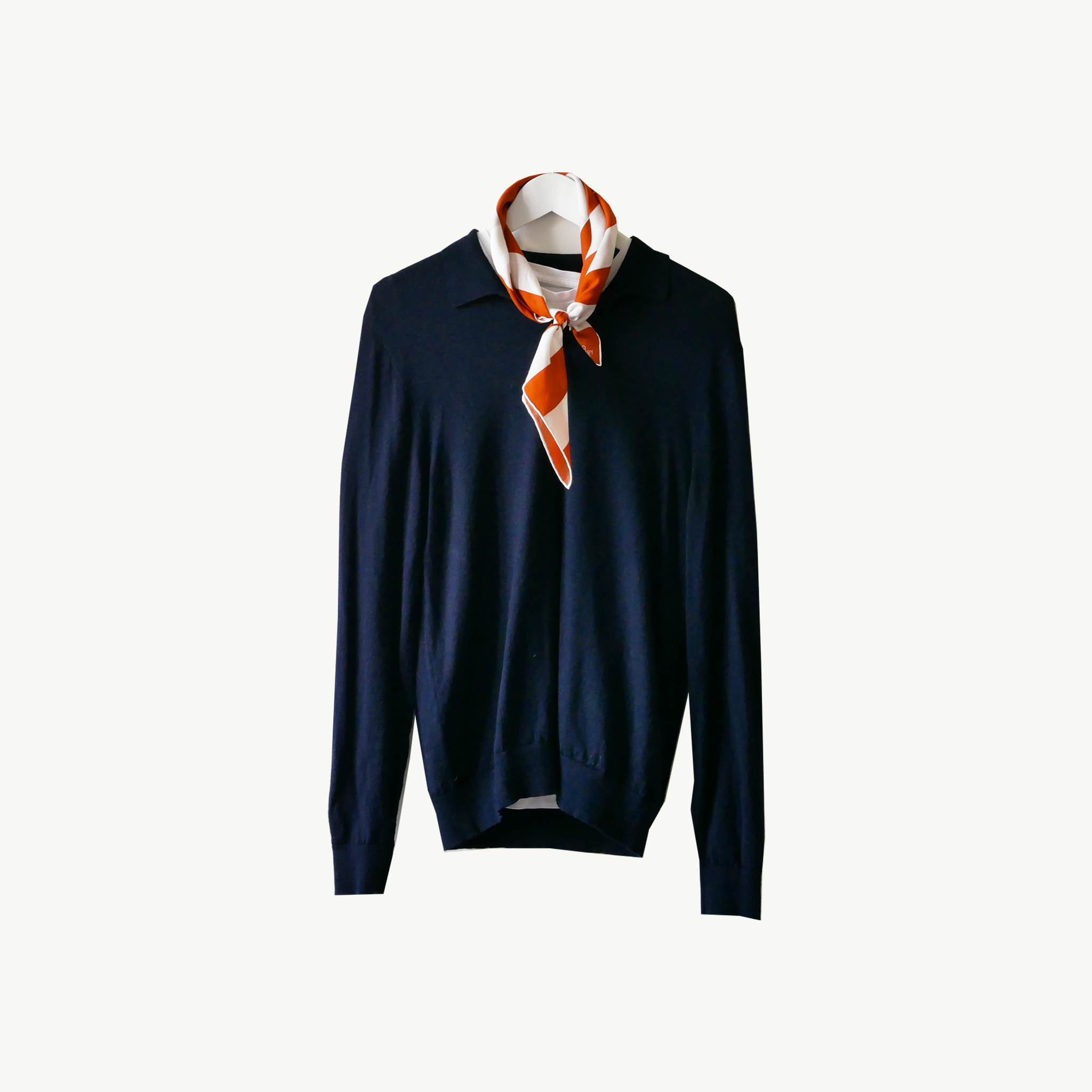 La Posta Vecchia, 16h23 handcrafted scarf worn on a navy cashmere polo sweater over a white tee in A Day In The Life...Part III by Les Belles Heures