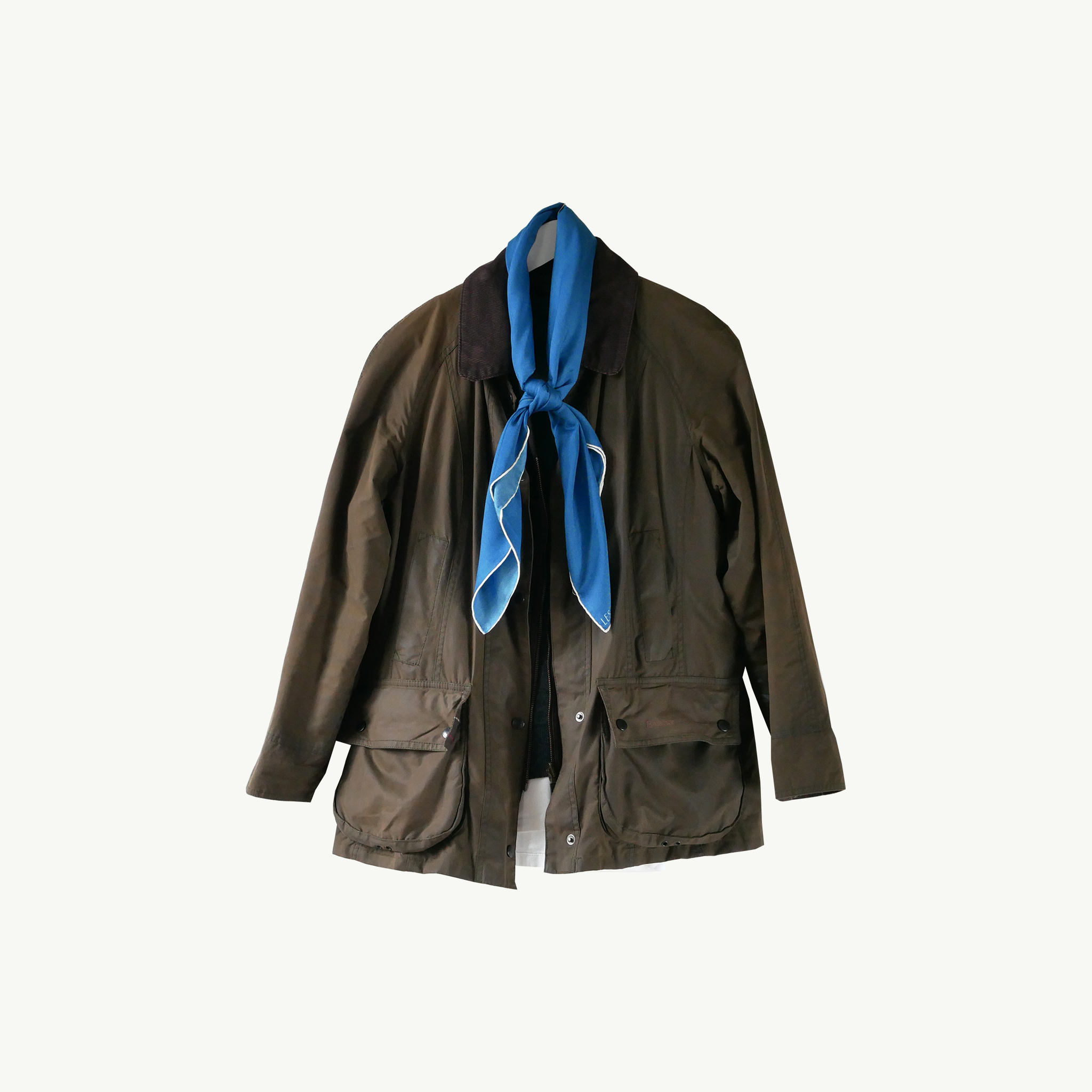 Les Belles Heures Cavallo, 18h17 100% hand rolled cashmere, modal and silk scarf in our 90cm format worn on a vintage waxed jacket