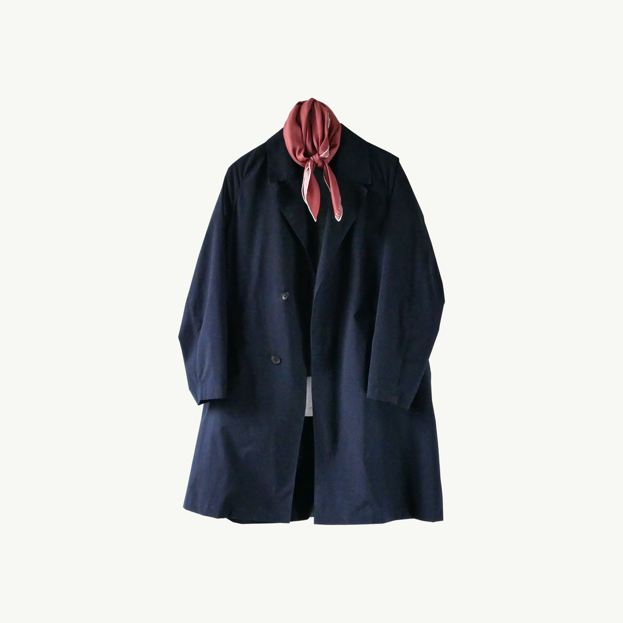 Les Belles Heures Procida, 20h52 100% hand rolled cashmere, modal and silk scarf in our 90cm format worn on a navy oversized raincoat