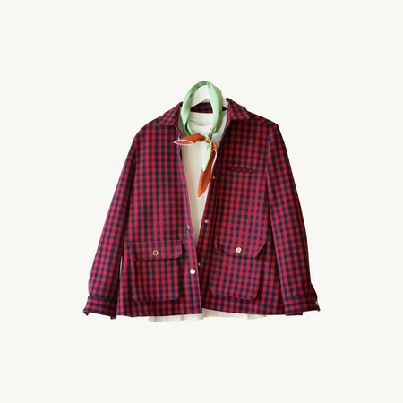 Les Belles Heures Sienne, 11h37 100% hand rolled cashmere, modal and silk scarf worn with a red gingham jacket over a white tee