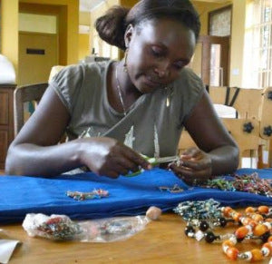Rahab at work on her beads!