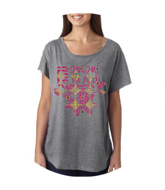Sankofa Flower Amani ya Juu T-Shirt - Kenyan materials and design for a fair trade boutique
