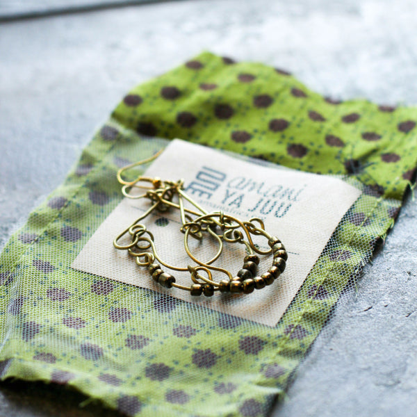 Brass Henna Earrings - Kenyan materials and design for a fair trade boutique