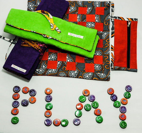 Bottle Cap Checker Board - Kenyan materials and design for a fair trade boutique