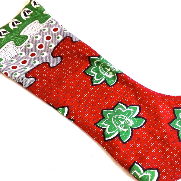Kanga Christmas Stocking - Kenyan materials and design for a fair trade boutique