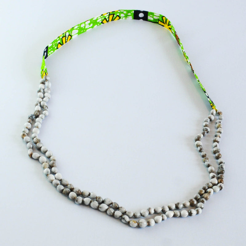 Grey Seed and Kitenge Strand Necklace - Kenyan materials and design for a fair trade boutique