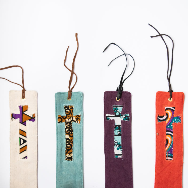 Canvas Cross Bookmark - Kenyan materials and design for a fair trade boutique