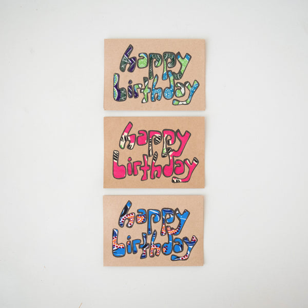 Happy Birthday Card Set - Kenyan materials and design for a fair trade boutique