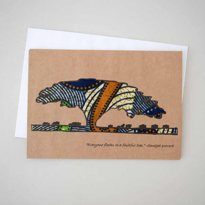 Acacia Tree Card - Kenyan materials and design for a fair trade boutique