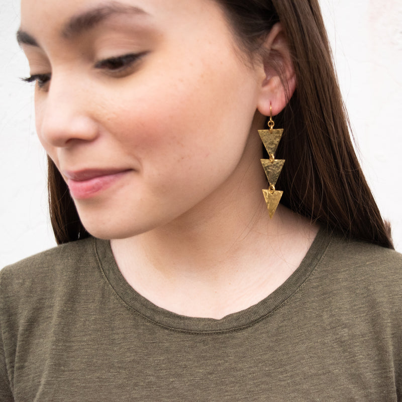 Triangle Drop Earrings - Kenyan materials and design for a fair trade boutique