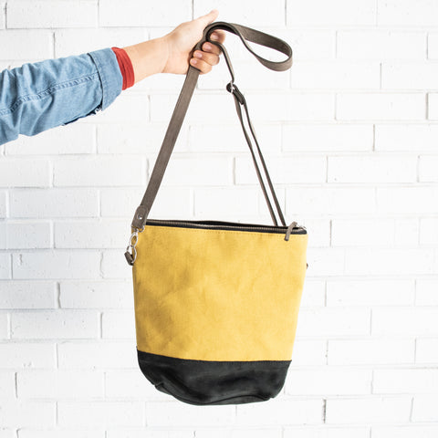 yellow leather and canvas fair trade bag made in Kenya