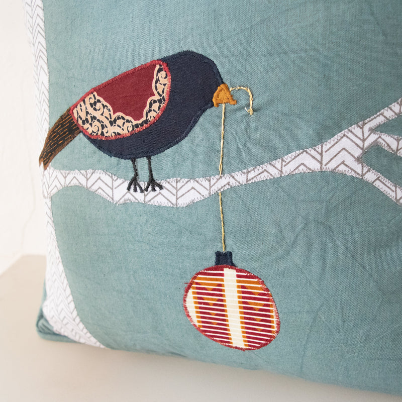 Christmas Bird Pillow - Kenyan materials and design for a fair trade boutique
