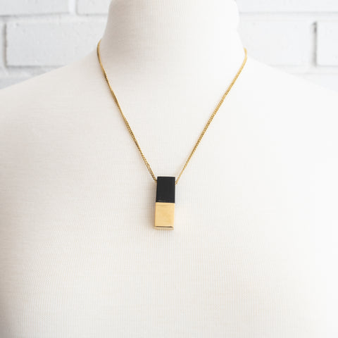 Wood Tipped Brass Plank Pendant Necklace