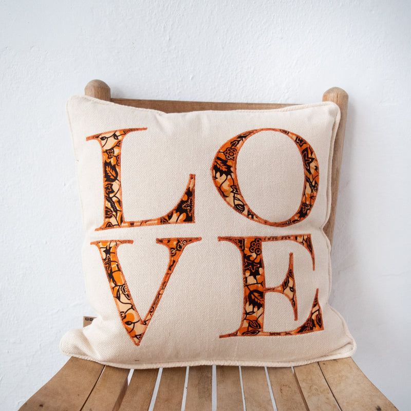LOVE Pillow - Kenyan materials and design for a fair trade boutique
