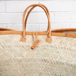 Leather Rim Basket - Kenyan materials and design for a fair trade boutique