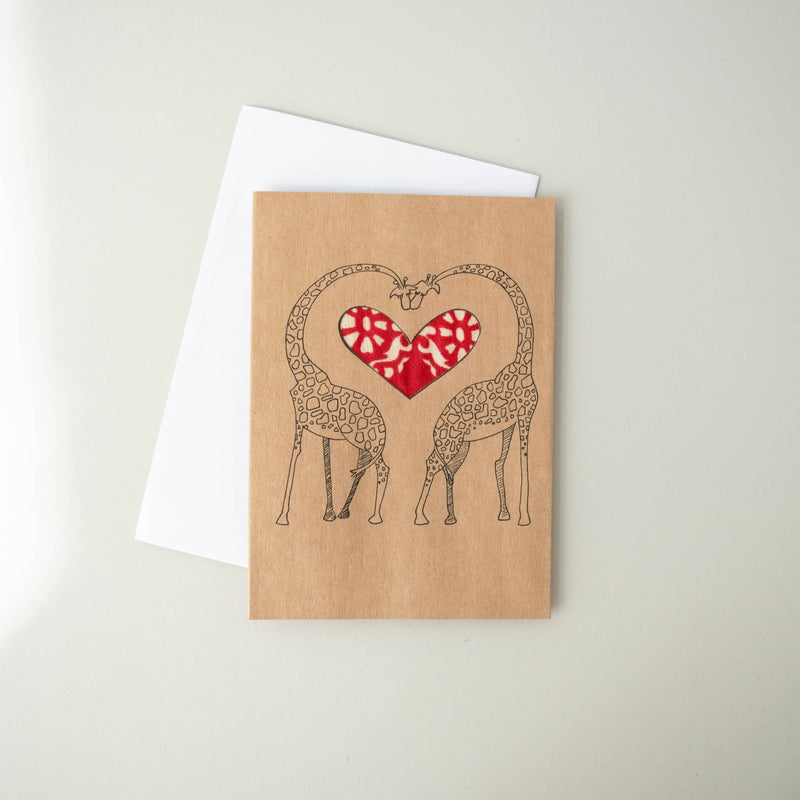 Giraffes in Love Card - Kenyan materials and design for a fair trade boutique