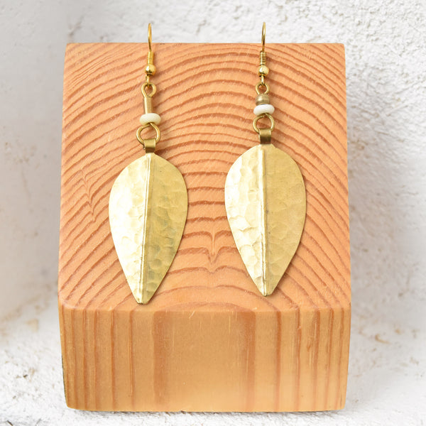 Brass Leaf Earrings - Kenyan materials and design for a fair trade boutique