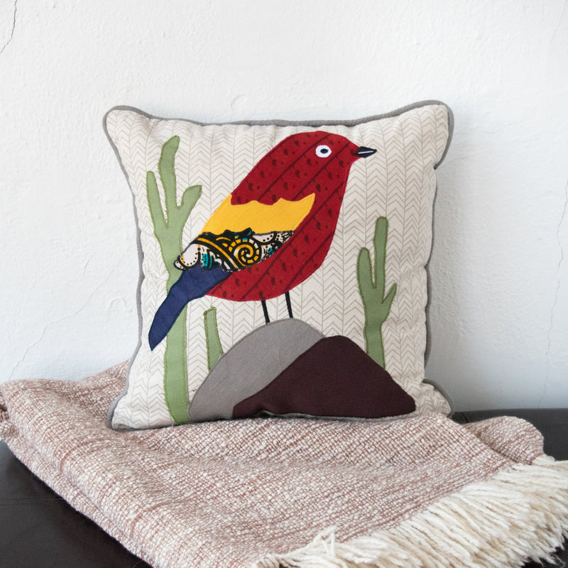Bird Pillow - Kenyan materials and design for a fair trade boutique
