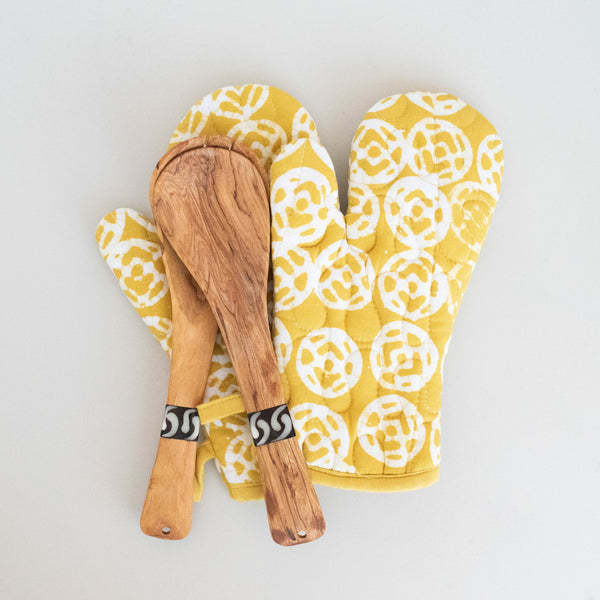 Batik Oven Glove & Spoon Set | Yellow Finch - Kenyan materials and design for a fair trade boutique