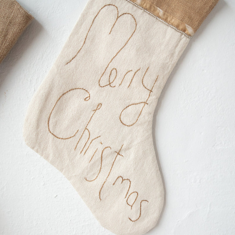 Embroidered Christmas Stocking - Kenyan materials and design for a fair trade boutique