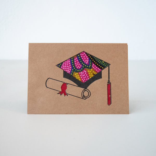 Graduation Cap Card - Kenyan materials and design for a fair trade boutique