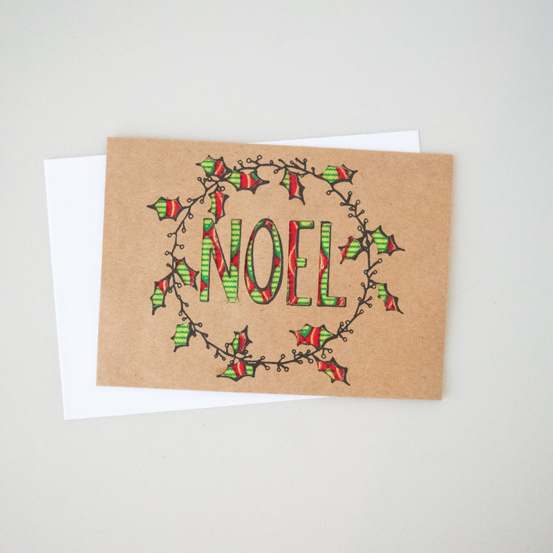 Christmas Noel Card - Kenyan materials and design for a fair trade boutique