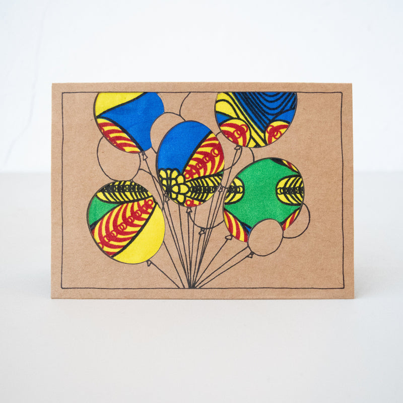 Balloons Card - Kenyan materials and design for a fair trade boutique