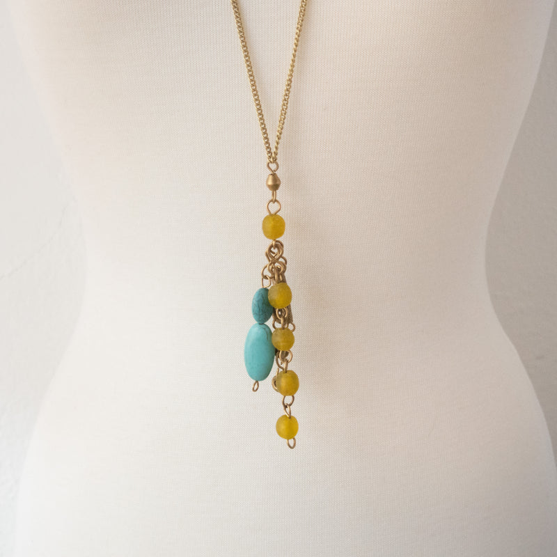 Turquoise Pendant Necklace - Kenyan materials and design for a fair trade boutique
