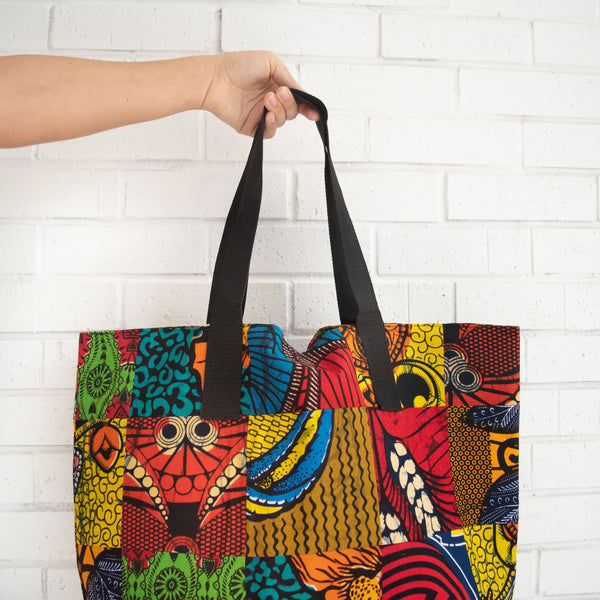 Patch Market Tote - Kenyan materials and design for a fair trade boutique
