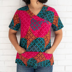 Women's Scrub Top - Kenyan materials and design for a fair trade boutique