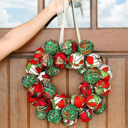 Maasai Christmas Ball Wreath - Kenyan materials and design for a fair trade boutique