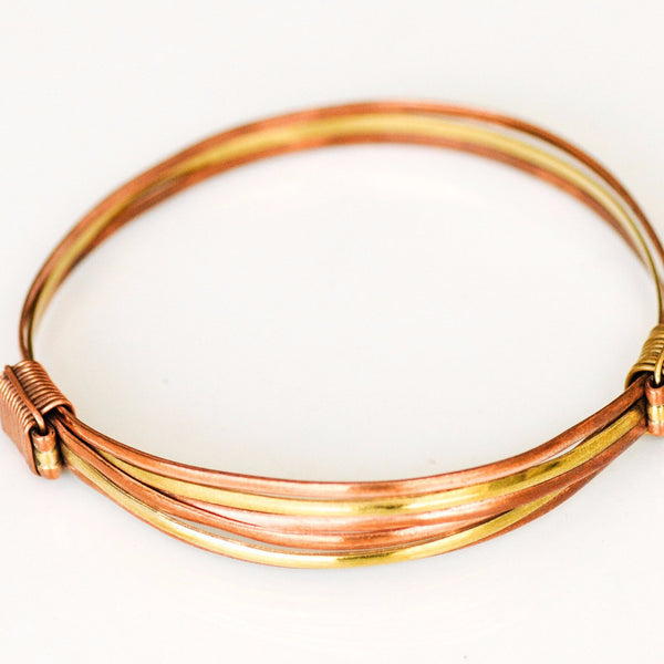 Copper/Brass Adjustable Bangle - Kenyan materials and design for a fair trade boutique