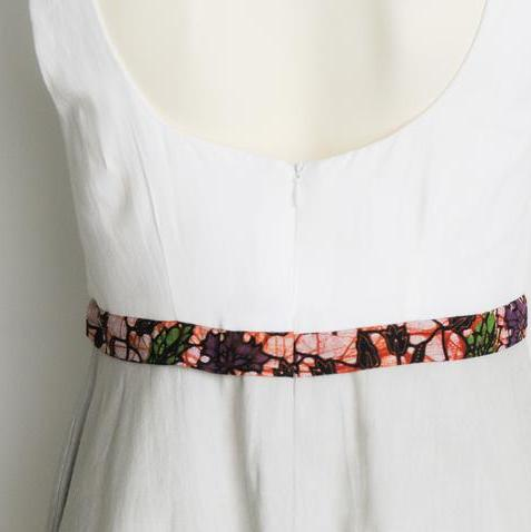 Cream & Gray High Waisted Sundress - Kenyan materials and design for a fair trade boutique