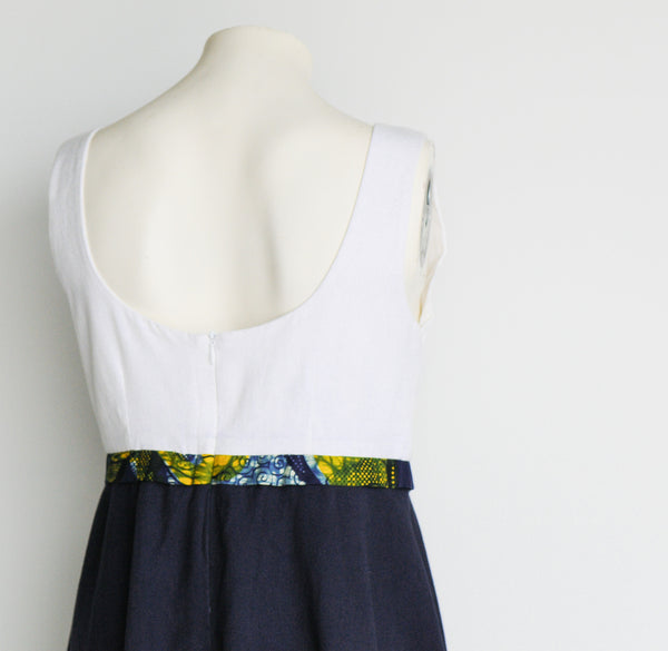 Cream & Navy High Waisted Sundress - Kenyan materials and design for a fair trade boutique
