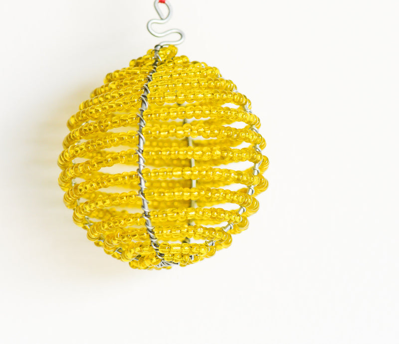 Beaded Ball Ornament - Kenyan materials and design for a fair trade boutique